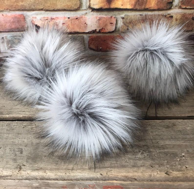 Silver Fox Faux Fur Pom Poms Grey Gray image 0