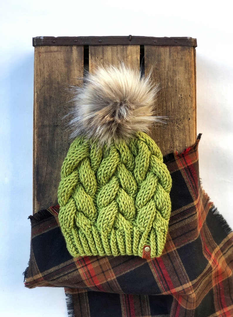 Braided Cable Beanie Avocado Green Woolspun Minx Faux Fur Pom image 0
