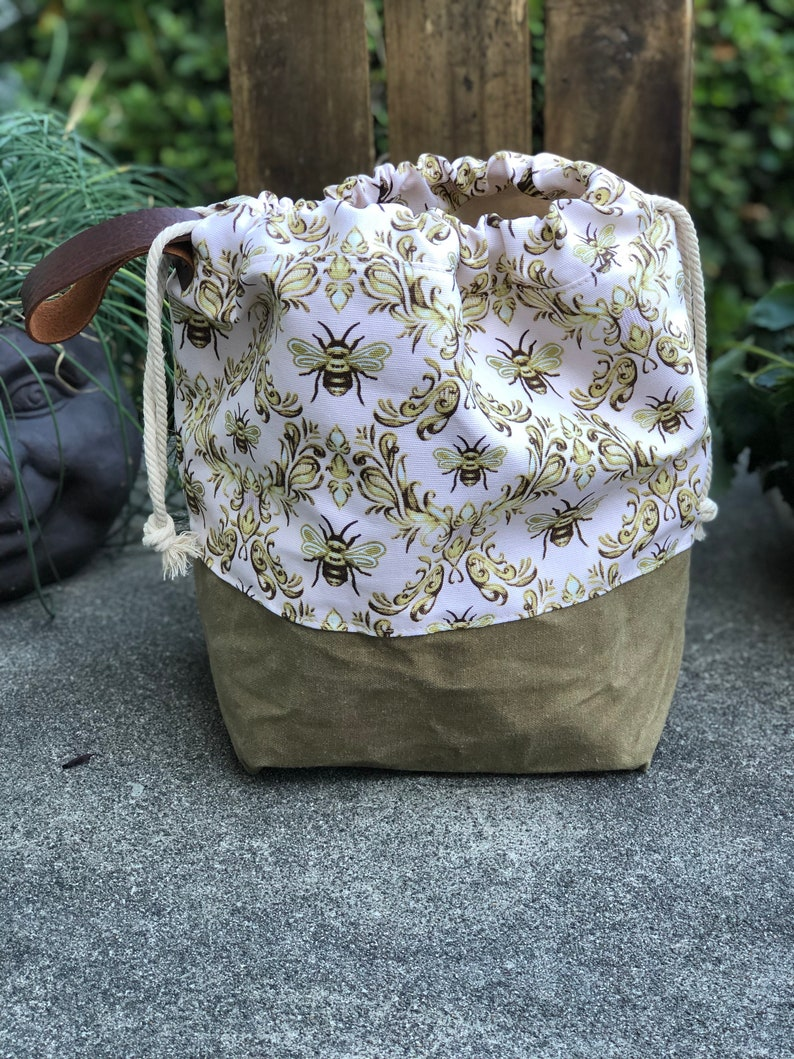 Honey Bee Damask Field Brown Waxed Canvas and Cotton Utility image 0