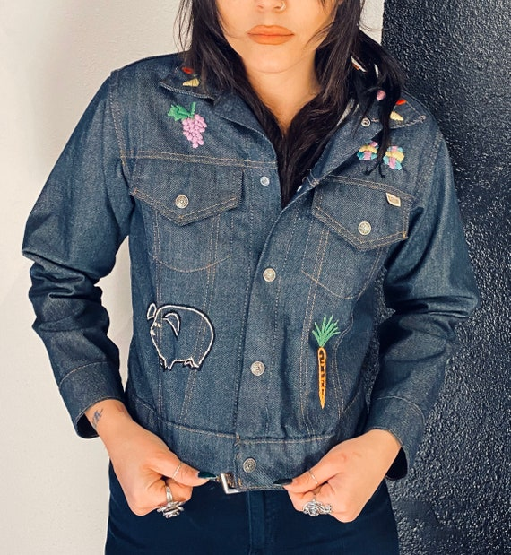 70s Hand Embroidered Denim Jacket S