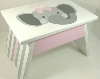 Step Stool For Kids   Bathroom Step Stool   Elephant Bathroom Decor   Girls  Bathroom Decor   Girls Bathroom Accessories   Personalized