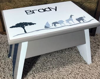 Baby Shower Gift Lion Step Stool Jungle Foot Stool Jungle Decor Gifts for Kids Personalized Lion Step Stool Personalized gifts