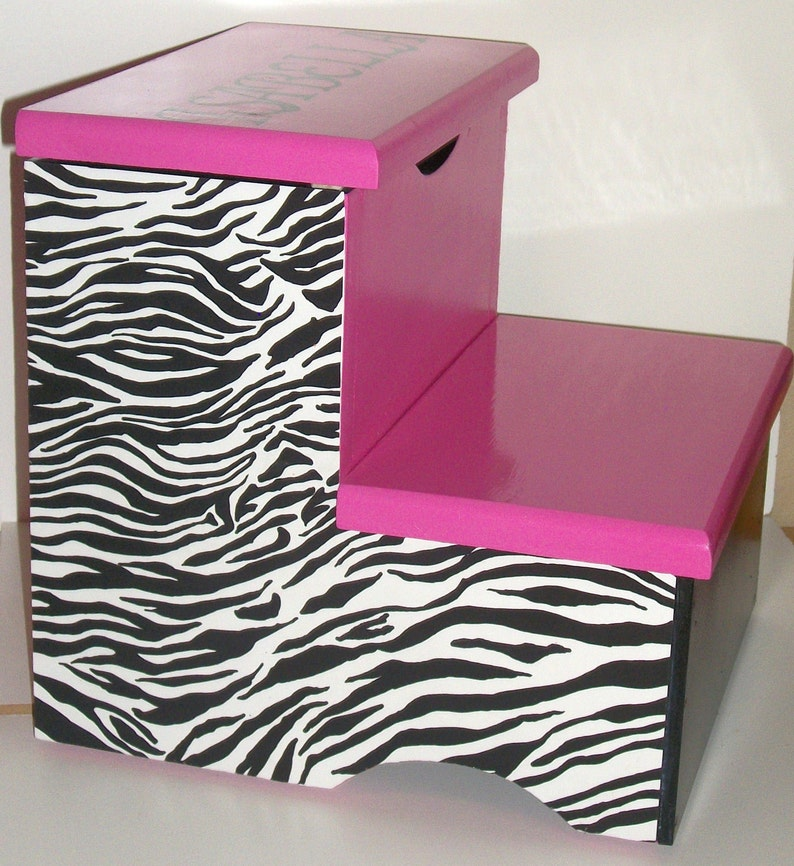 Hot Pink Zebra Step Stool - Girl Zebra Decor - Bathroom Step Stool -  Toddler Step Stool - Zebra Bedroom Decor - Hot Pink and Black