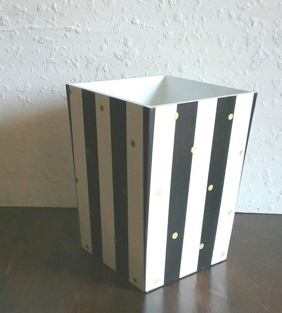 Gestreifte Abfall Korb Schwarz Weiß Und Gold Holz | Etsy