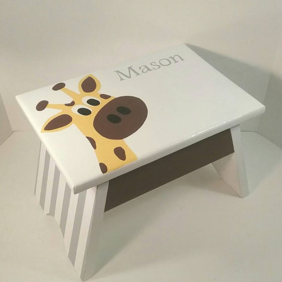Swell Toddler Step Stool Giraffe Step Stool Personalized Step Stool Nursery Footstool Yellow And Brown Dreamatheme Giraffe Footstool Ibusinesslaw Wood Chair Design Ideas Ibusinesslaworg