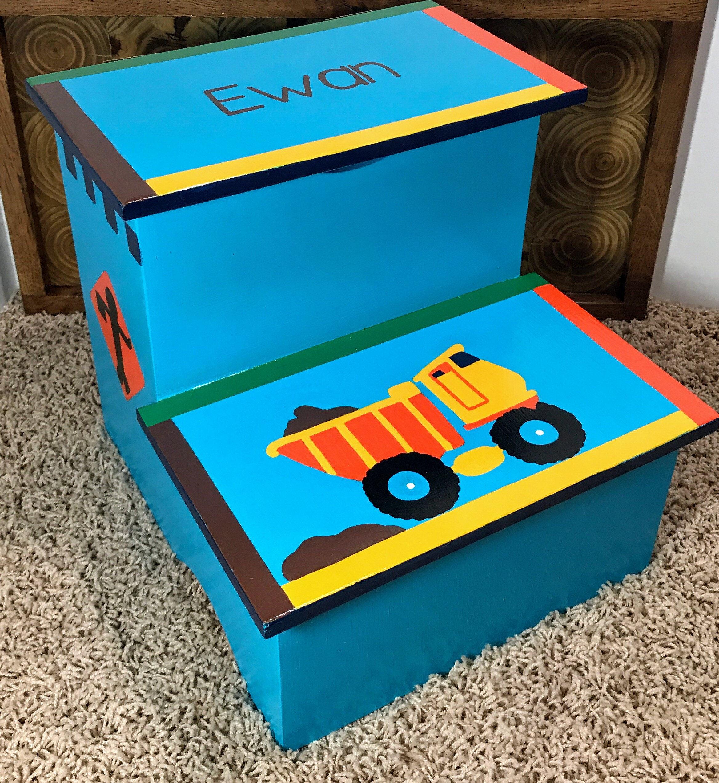 Kids Wooden Step Stool Toddler Boy Step Stool Dump Truck | Etsy