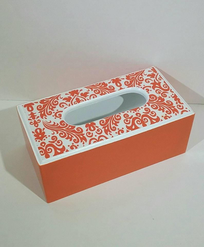 Wooden Rectangle Tissue Box' Orange Damask Tissue Cover'