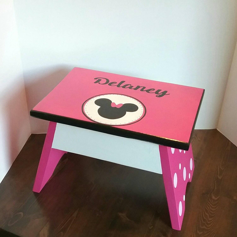 hot pink footstool character step stool toddler step stool etsy. Black Bedroom Furniture Sets. Home Design Ideas