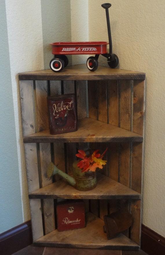 Corner Crate Shelf Rustic Grey Shelf Corner Shelf Wooden Etsy