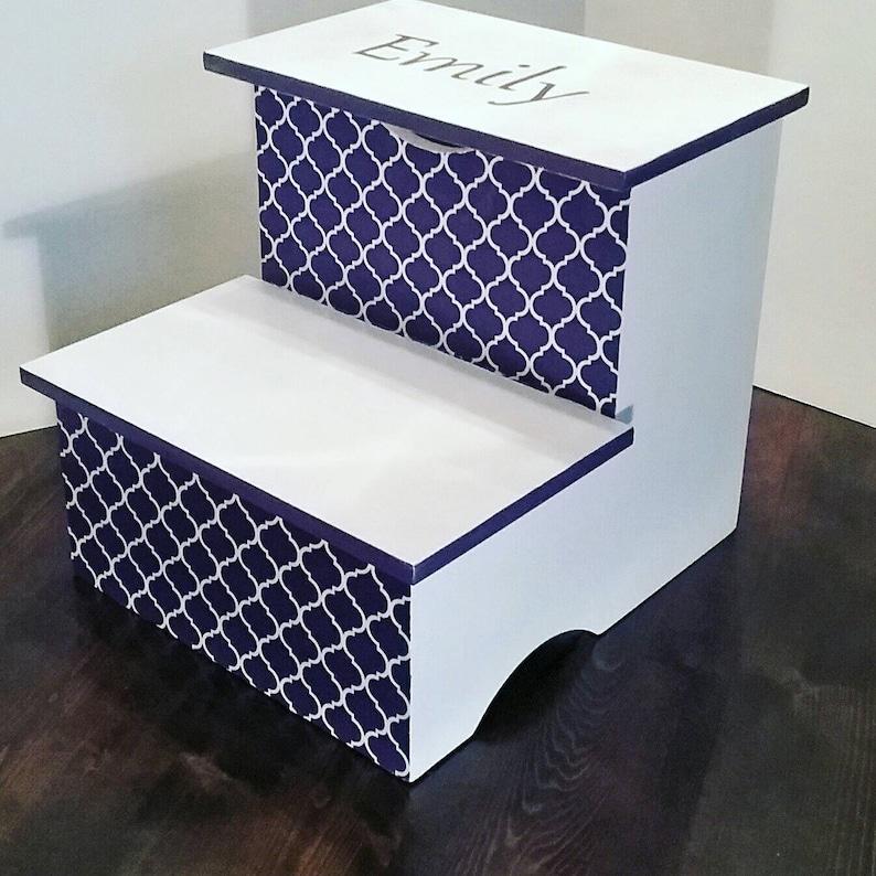 Quatrefoil Step Stool Purple and White | Etsy