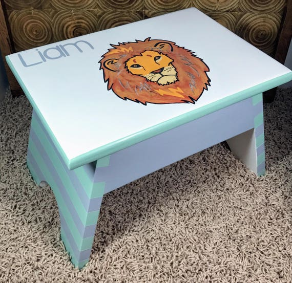 Stupendous Personalized Nursery Decor Baby Boy Personalize Baby Gift Ideas Gift For Baby Step Stool Wooden Step Stool For Toddler Kids Step Stools Alphanode Cool Chair Designs And Ideas Alphanodeonline