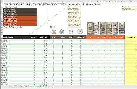 Payroll Cash Denomination Calculator For Excel Office Etsy
