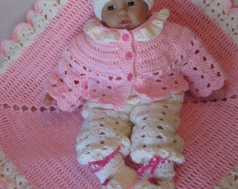 Handmade Baby Shower, Christening Newborn Baby Crochet Blanket, Cardigan, Overall, Booties, Hat set. Perfect Shower Gift or Take Home Outfit