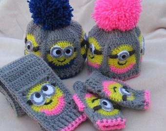 Custom Order! Handmade Crochet Minion Hat, Scarf, and Fingerless glove inspired set, Beanie With Big Pom Pom Crochet Granny Square Hat