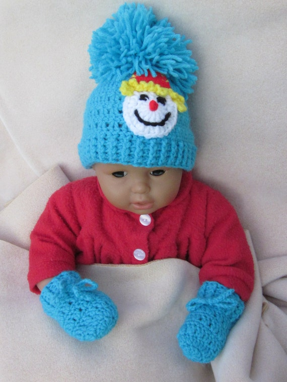 Newborn Hat Baby Hat with Aplique Crochet Baby Hat Photo Prop Beanie,Christmas Gift Clown Applique crochet baby hat Baby Beanie
