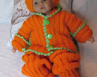 Handmade baby shower, christening Newborn Baby Cardigan, Pants, Booties, Hat set. Perfect Shower Gift/Take Home Outfit/Fall Photos/Halloween