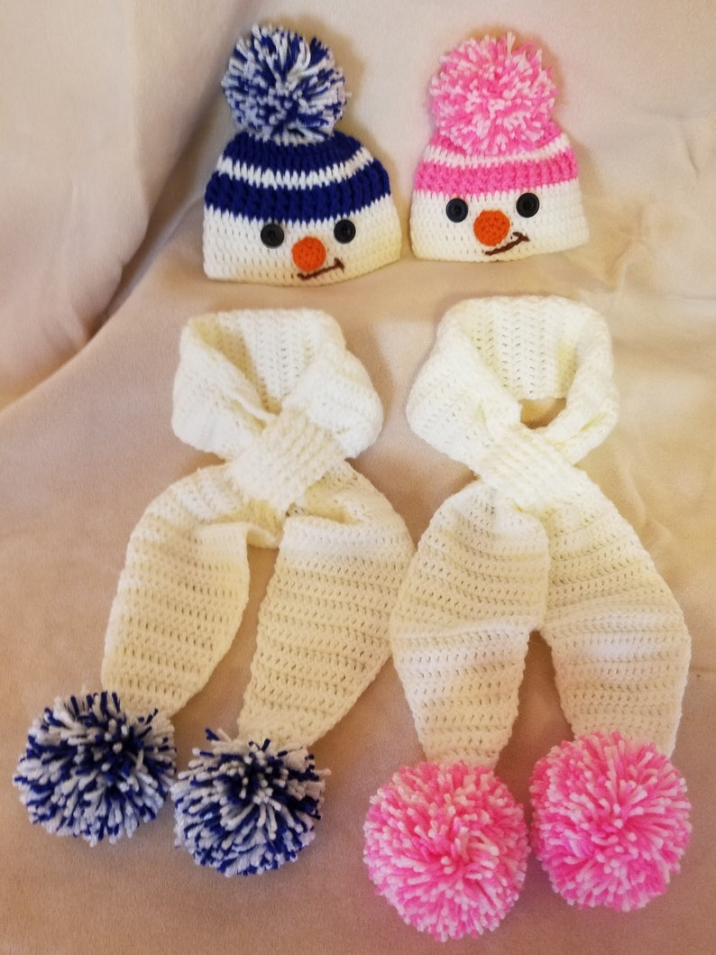 Christmas Gift Baby Beanie Photo Prop Snowman Hat and Scarf Crochet Baby Hat Matching Hat and Scarf Newborn Crochet Baby Hat