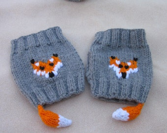 Hand-knitted Fingerless Gloves Mittens Arm Warmers, Knitted Fingerless Fox Gloves, Gift Ideas, Mittens with fox tail, fox gloves