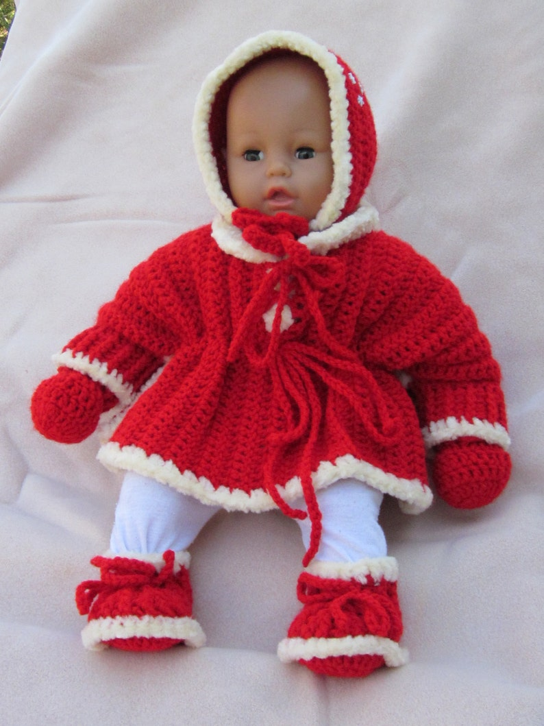417e577df777 Crochet Pancho Jacket Booties Hat Mittens set Perfect Baby