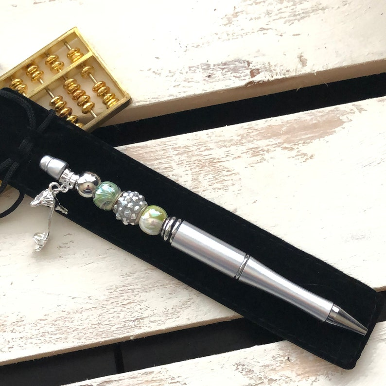 FREE Black Gift Pouch Silver One-of-a-Kind Gift Ideas Beaded Pen Handmade Plastic Beadable Ball Pen