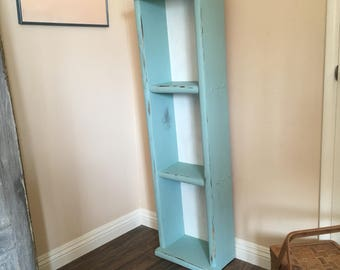 Rustic Farmhouse Tall Book Shelves - County Cottage Kitchen Cupboard - Bathroom Open Storage Cabinet / Étagère - Distressed Chippy Paint & Storage cabinet | Etsy