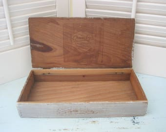 Vintage Quinby's Chocolates Box  - Primitive  Rustic  Farmhouse  Wood Box - Distressed in Pewter