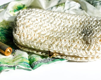 Lily of the Valley . 1950s bone white raffia purse with kid leather interior