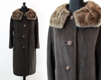 Chocolate Truffle . 1950s  brown wool coat with mink collar . md