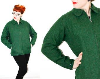 RESERVED Vintage 1940s jacket . Beyond the Pines . reversible 1940s / 50s ski jacket . green wool coat . lg