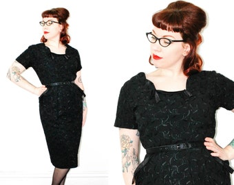 Licorice Whip  . 1950s embroidered black wiggle dress . xl / plus size