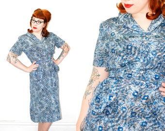 1940s blue dress // Shady Lady vintage 1940s silk fern leaf print dress . lg / xl