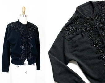 1950s black cardigan // Bewitching Hour vintage 1950s beaded cardigan sweater . md / lg