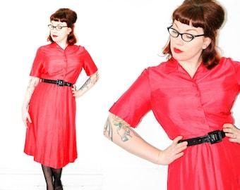 Shocking Sweet . fuchsia pink 1950s shirtwaist dress . lg / large