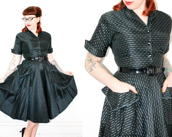 Paris Lights . 1950s atomic black taffeta dress . md / medium