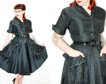 1950s taffeta dress //  Paris Lights atomic vintage black taffeta 1950s dress . md / medium