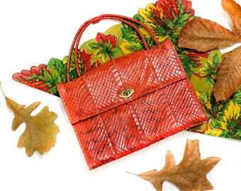 1940s purse // Urban Serpent vintage red brown 1940s snake skin purse