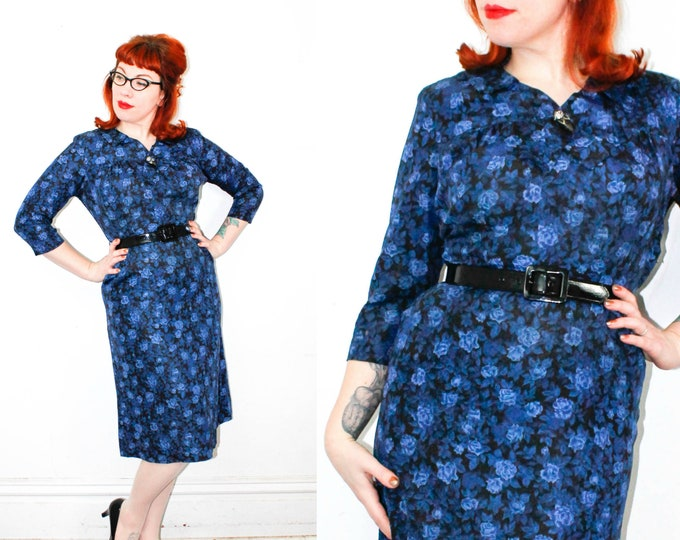 Featured listing image: Blue Rose Waltz . 1950s blue rose print sheath dress . md / lg
