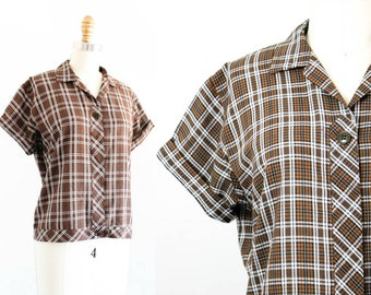 1950s plaid blouse // Woodsy vintage 50s brown plaid shirt by Ship 'n Shore md /lg