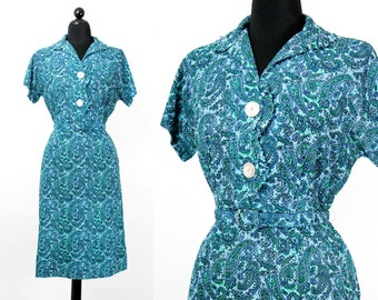 Vintage 1960s dress . Blue Spruce . 1960s paisley dress . lg / xl