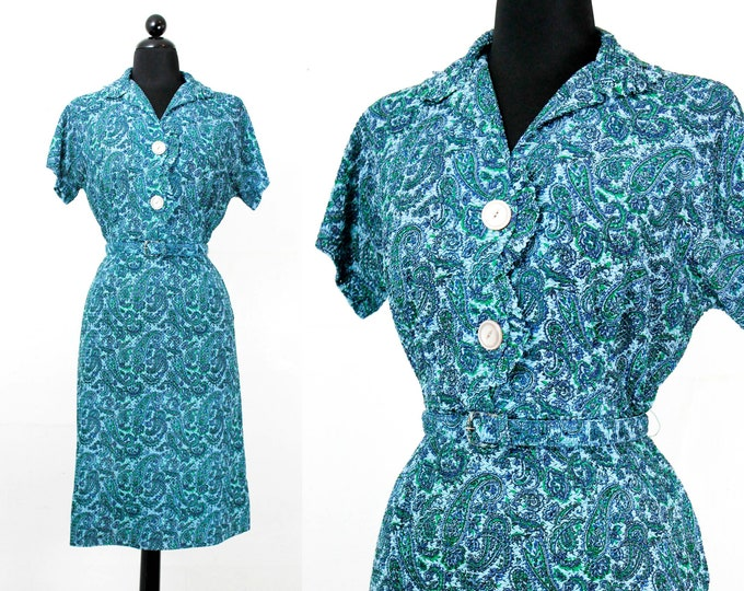 Featured listing image: Vintage 1960s dress . Blue Spruce . 1960s paisley dress . lg / xl