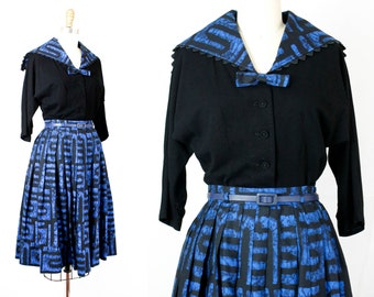 Modern Art . 1950s black and blue batik skirt and blouse set . sm / small
