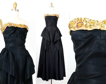 The Golden Hour .  black rayon taffeta 1950s formal gown . sm / small