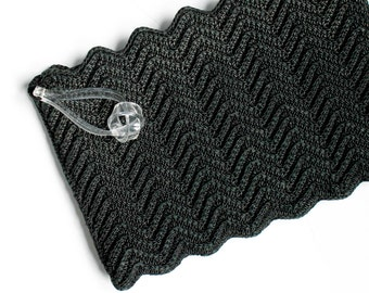 Vintage 1940s corde clutch . Love Knot . black 1940s crocheted clutch purse . extra large 1940s corde purse with lucite handle
