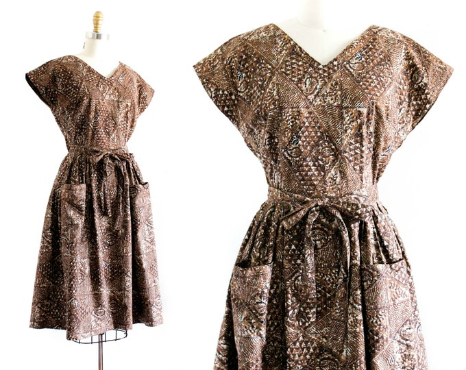 Featured listing image: 1950s wrap dress // vintage 50s/60s brown cotton batik print dress . sm / md