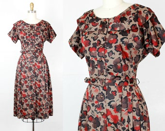 Fire Cider . brown and red 1950s shirtwaist dress with collar . md / medium