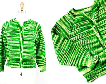 Signs of Spring . 1960s hand knit green striped cardigan . md