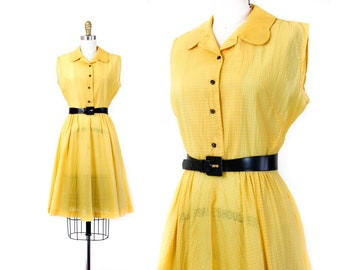 Buttercup // yellow nylon plisse early 1950s sundress md / lg
