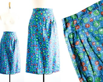 SALE  Dotty Darling  . 1950s blue polka dot print skirt . md
