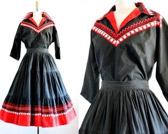 Dear Dolores .  1950s black and red patio dress set .  md / medium