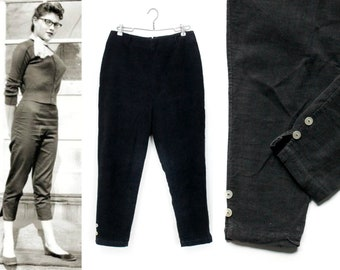 1950s ankle pants // Black Licorice vintage 1950s corduroy pants md / lg
